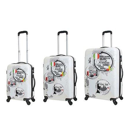 Conjunto de Malas de Viagem Travel Max com Rodinhas Giro 360° 3 Peças Marco Metropolitan Branca