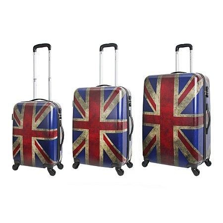 Conjunto de Malas de Viagem Travel Max com Rodinhas Giro 360° 3 Peças Grã-Bretanha Azul