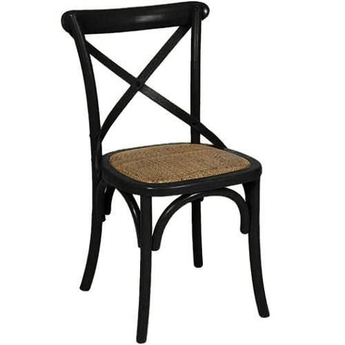 Cadeira Cross Preta Paris com Assento em Rattan