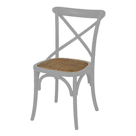 Cadeira Cross Cinza Paris com Assento em Rattan