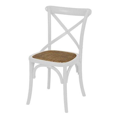 Cadeira Cross Branca Paris com Assento em Rattan