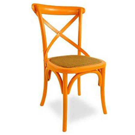 Cadeira Cross Laranja Paris com Assento em Rattan
