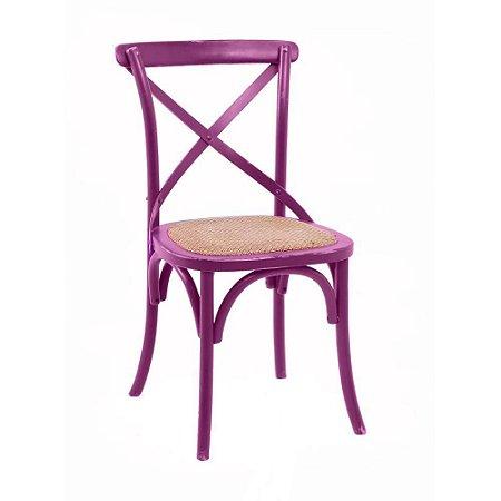 Cadeira Cross Roxo Paris com Assento em Rattan