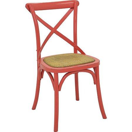 Cadeira Cross Vermelho Paris com Assento em Rattan