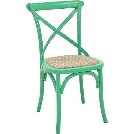 Cadeira Cross Verde Água Paris com Assento em Rattan