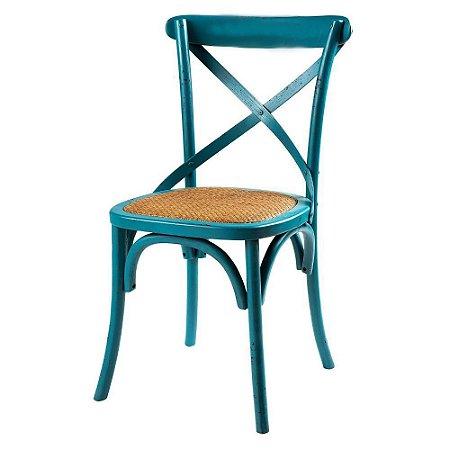 Cadeira Cross Azul Claro Paris com Assento em Rattan