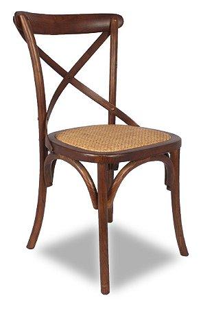 Cadeira Cross Madera Escura Paris com Assento em Rattan