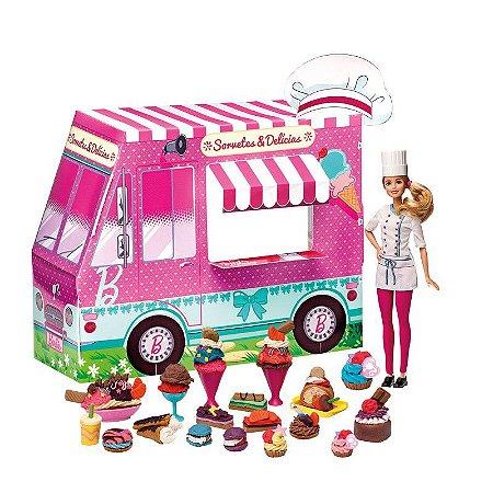 Massinha Barbie Food Truck Sorvetes e Delicias