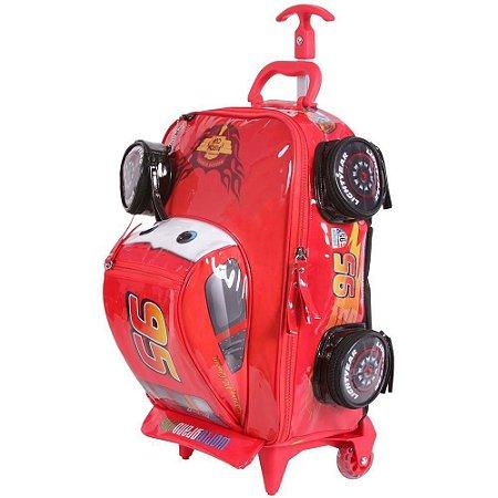 Mochila de Rodinhas Mochilete 3D Escolar Disney Carros (60102)