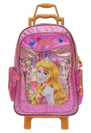 Mochila de Rodinhas Mochilete Escolar Grande Disney Princesas Bela Adormecida (60006)