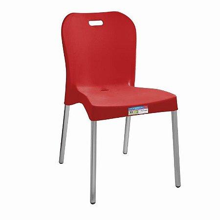 Cadeira Vermelha com Pé Aluminio Sem Braço ref 363 Paramount Plasticos