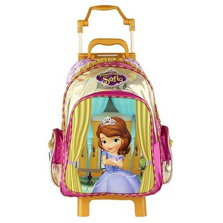 Mochila de Rodinhas Mochilete Escolar Grande Disney Princesinha Sofia (49095)