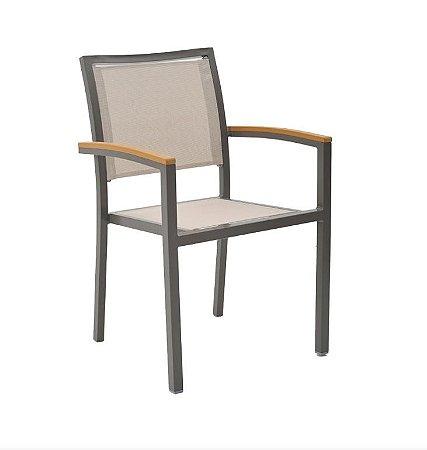 Cadeira Maragogi Nb11 Marrom Tela Bege
