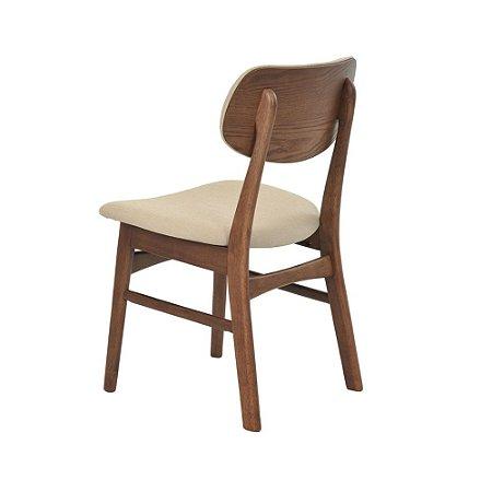 Cadeira Erica c/ Encosto Estofado Linho Bege