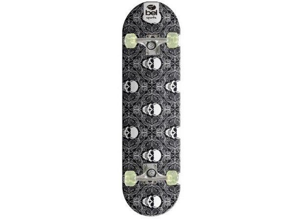 Skateboard Semi-Pro Rodas PU Caveira Branco e Preto