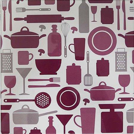 Apoio para Panela Vidro Temperado - Doce Cozinha Roxo