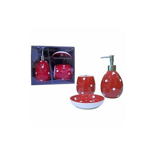 Jogo de banheiro de Porcelana 3 peças - Vermelho com Branco