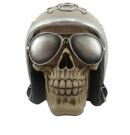 Escultura Resina Caveira Vintage Helmet (27955)