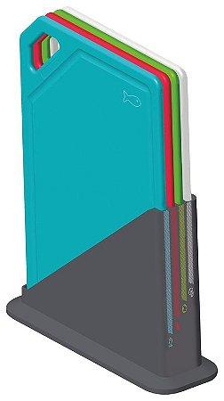 Conjunto 5 tábuas de corte Mixcolor com suporte - 25099/940