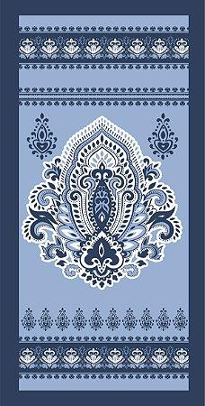 Toalha Athenas Banho 65Cmx130Cm  Arabesco Azul