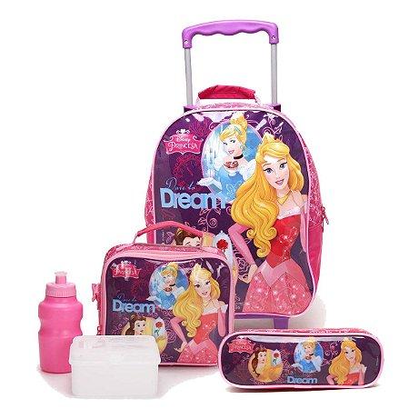 Kit Escolar Mochilete + Lancheira + Estojo Princesas Disney