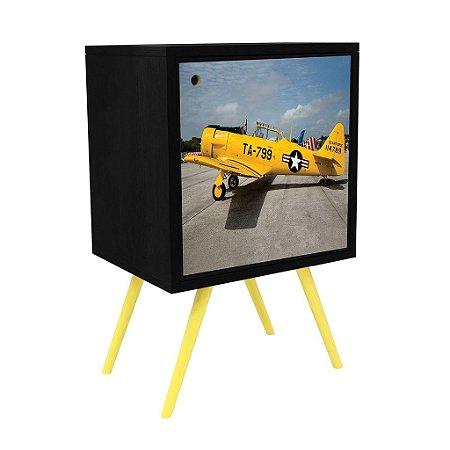 Armário com 1 Porta Estampa Avião Amarelo  (0119-0061)