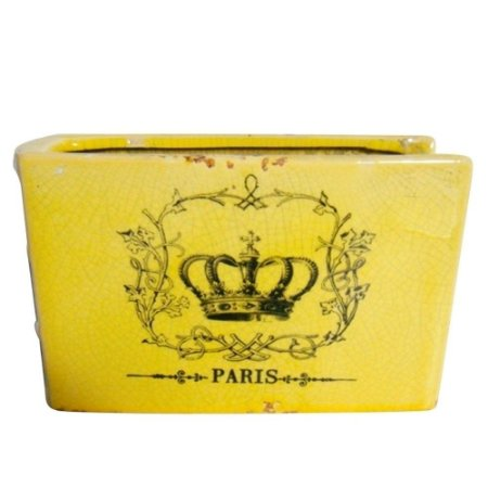Vaso de Cerâmica Book Paris Crown Amarelo - Urban