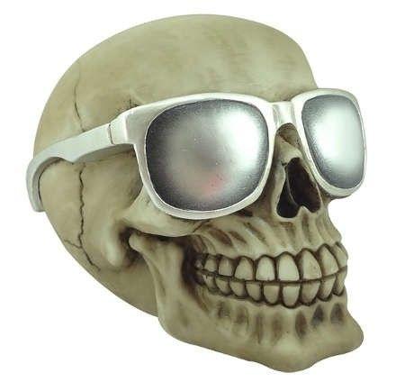 Escultura em Resina Caveira Óculos de Sol Branco (27405)