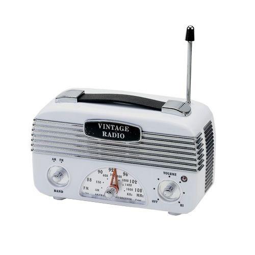 Rádio AM/FM Vintage Retrô Branco