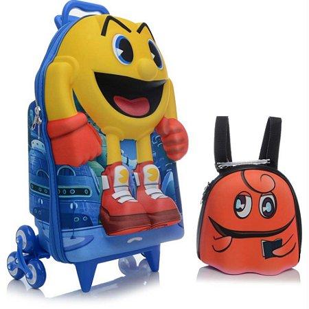 Mochila de Rodinha Mochilete 3D Escolar + Lancheira Bandai Namco Pac Man