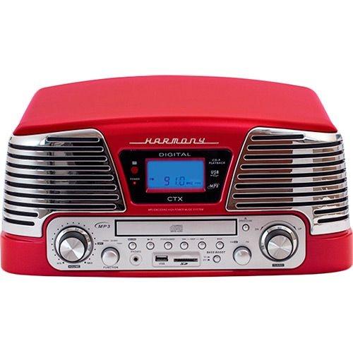 Vitrola Retrô Harmony Vermelho com Sistema Hi-Fi Entrada USB, SD, CD Player, Toca-Discos Reproduz e Grava