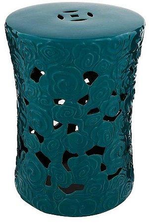 Puff em Cerâmica Curl Azul