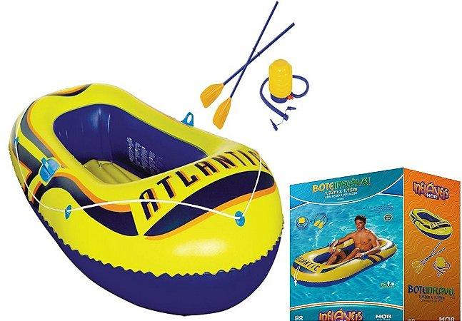 Bote inflável 1,92mx1,15m com remos e inflador