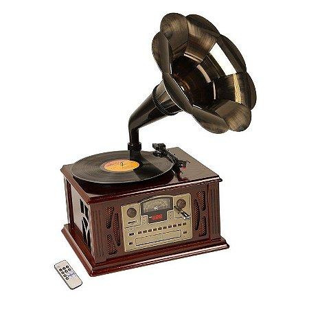 Gramofone Toca  Disco Vinil Retrô Texas De Madeira Bivolt