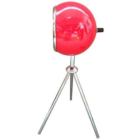 Luminaria Metal Mesa Tripe Bebop Vermelha Brilhante
