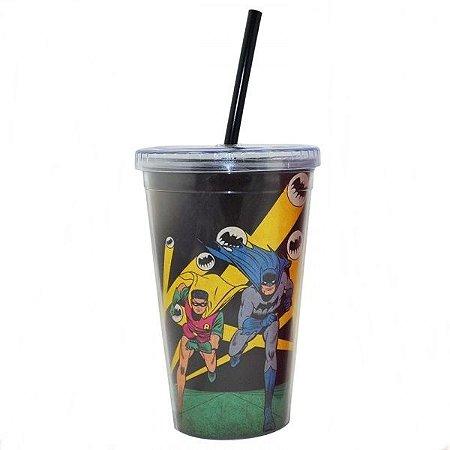 Copo Plastico Com Tampa e Canudo DC Comics  Batman e Rubin Run 300ml (25478)