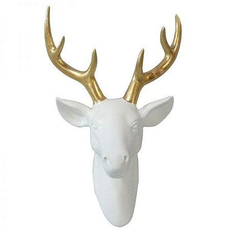 Escultura Parede Ceramica Deers Head Gold Horns