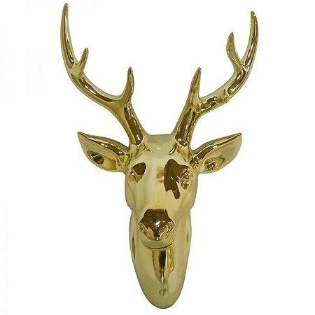 Escultura Parede Ceramica Deers Head Dourado