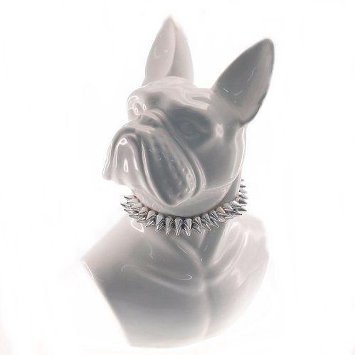 Dog Branco Busto Colar Prata