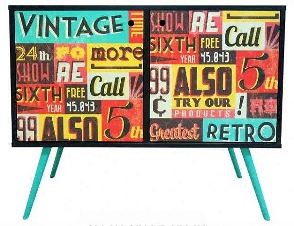 Armário Horizontal com 2 Portas Estampa Vintage  (0118-0838)