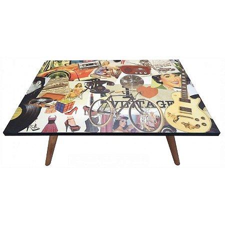 Mesa de Centro Preto Estampa Vintage (0304-0880)