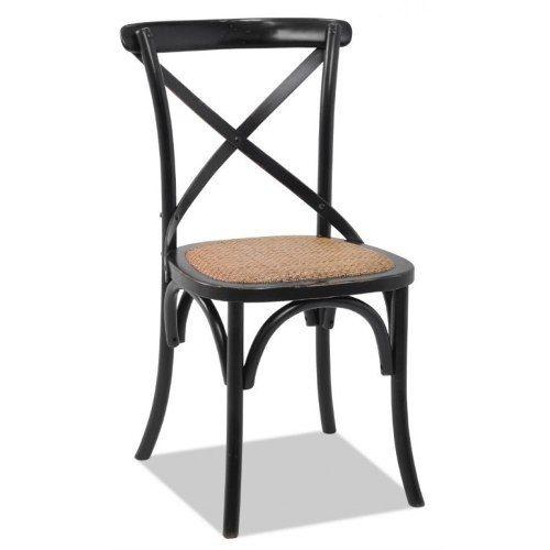 Cadeira Cross Paris em Madeira Preta com Assento em Rattan