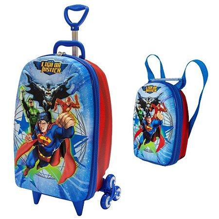 Mochila Escolar de Rodinhas Liga da Justiça Superman + Lancheira