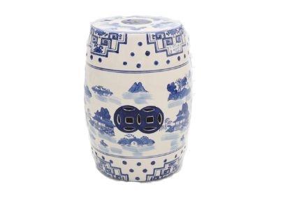 Banqueta de Cerâmica Seat Garden Azul e Branco 114-ML043-18