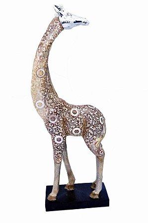 Estatueta Decorativa de Resina Girafa de Lado na Base (ES919F)