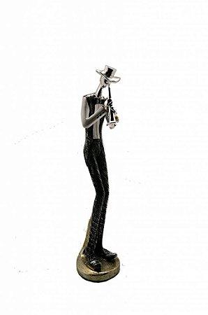 Estatueta Decorativa em Resina Músico Tocando Corneta (9437H1)