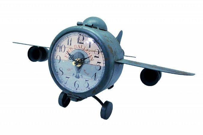 Relógio Decorativo de Mesa Avião Cinza (RE500)