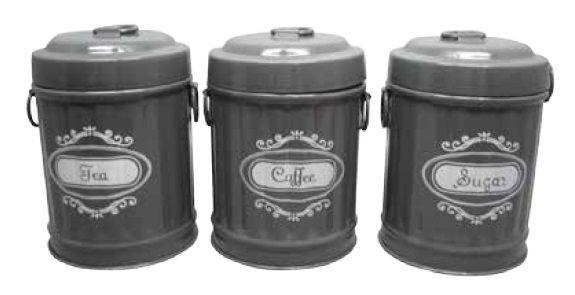 Conjunto 3 Potes Decorativo de Metal Cinza - Garbage Bin Shape