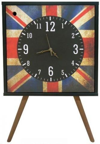 Armário Clock com 1 Porta Relogio Preto Estampa Inglaterra  (0309-0681)
