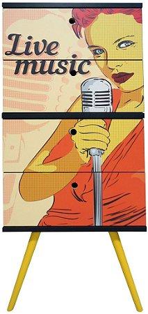 Gaveteiro Vertical com 4 Gavetas Estampa Live Music (0348-0812)